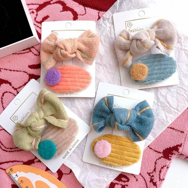 兒童飾品 彩色針織毛線髮夾組-共四色
