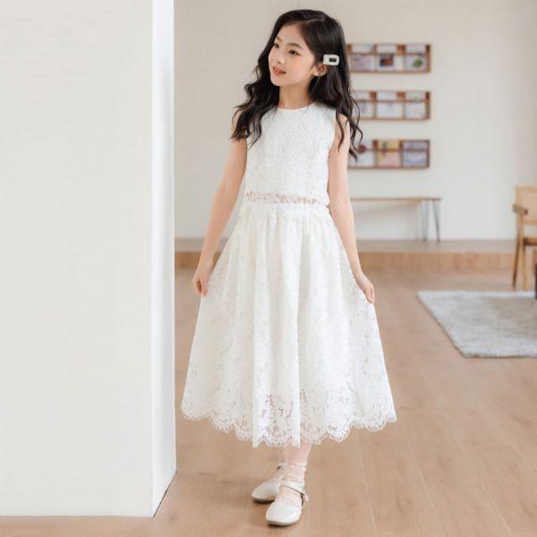 /大童/白色蕾絲無袖氣質套裝-共一色