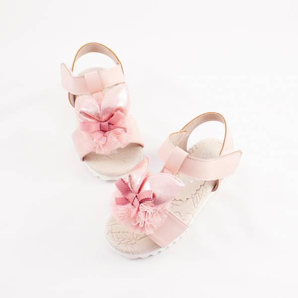 現貨 台灣製兔兔跳進花叢兒童涼鞋-粉色 女童真皮涼鞋,台灣製童鞋,台灣製涼鞋,女童涼鞋,真皮涼鞋