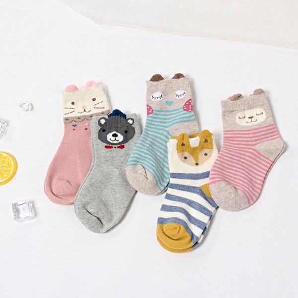 秋冬繽紛小動物短襪-一組五雙