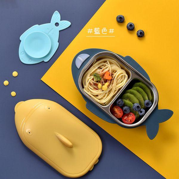鯊魚造型不鏽鋼兒童餐盒 有附蓋子-共三色