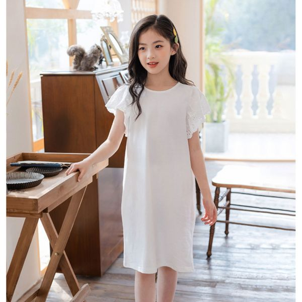 /大童/蕾絲波浪袖白色洋裝-共一色