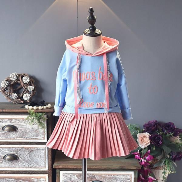 現貨 百褶裙洋裝假兩件長版上衣-共一色 百褶裙洋裝,假兩件長版上衣