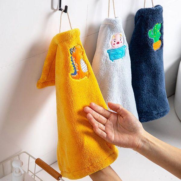 動物刺繡珊瑚絨擦手巾-共四色