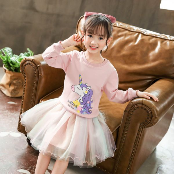 女孩最愛 薄款獨角獸紗裙套裝-共兩色