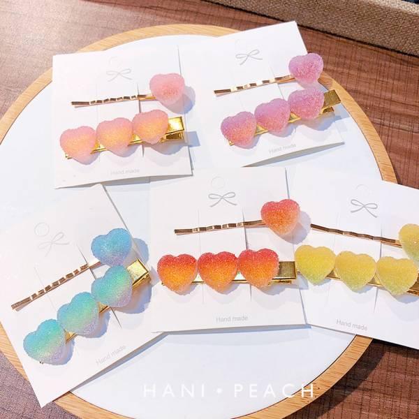 現貨 漸層愛心軟糖髮夾組-共五色 漸層愛心軟糖髮夾組,韓國髮夾,兒童髮夾