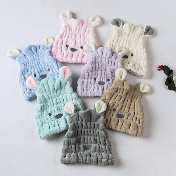 珊瑚絨小熊兒童乾髮帽浴帽-共七色 珊瑚絨兒童乾髮帽,兒童浴帽
