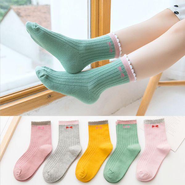 女童蝴蝶結花邊中筒襪-一組五雙 女童蝴蝶結花邊中筒襪,女童中筒襪,蝴蝶結中筒襪,花邊中筒襪