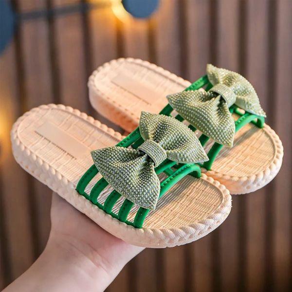 /大童/蝴蝶結防水拖涼鞋-綠色