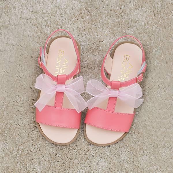 現貨 台灣製浪漫蝴蝶結女童真皮涼鞋-粉色 女童真皮涼鞋,台灣製童鞋,台灣製涼鞋,女童涼鞋,真皮涼鞋