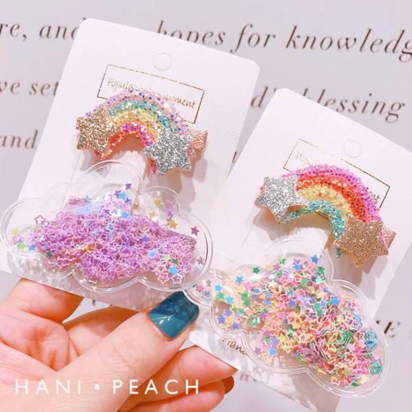 現貨 彩虹雲朵髮夾-粉色