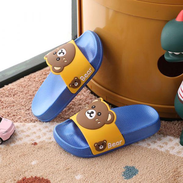 男孩女孩 可愛小熊防滑防水拖鞋-藍色