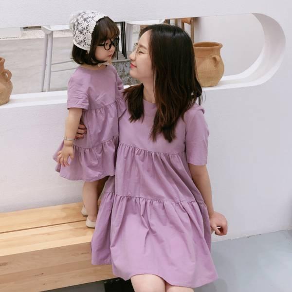 現貨親子裝 蛋糕裙棉質洋裝-紫色 現貨親子裝,蛋糕裙棉質洋裝,親子洋裝