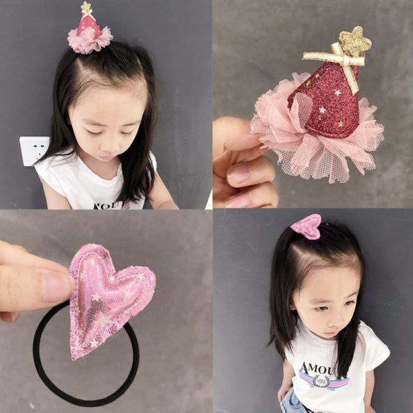 現貨 派對帽與愛心兩件組髮夾髮圈-共兩色  兒童飾品兒童,髮夾,韓國兒童飾品