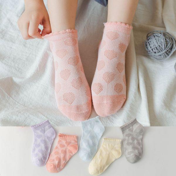 夏季薄款 愛心網眼低筒襪-一組五雙