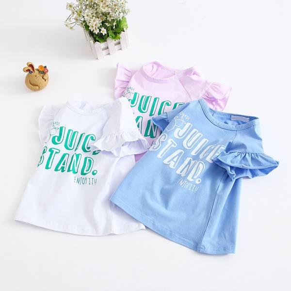 現貨 字母印花荷葉邊T恤 女童短袖上衣-共兩色 印花T恤,女童短袖上衣