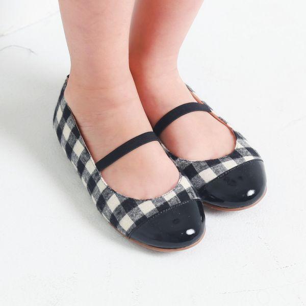 現貨不用等 台灣製造 格紋布女童娃娃鞋-黑色 女童娃娃鞋,台灣製造