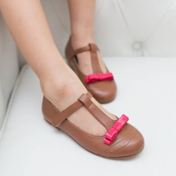 現貨零碼下殺 蝴蝶結T字真皮娃娃鞋-咖啡色 女童娃娃鞋,台灣製造