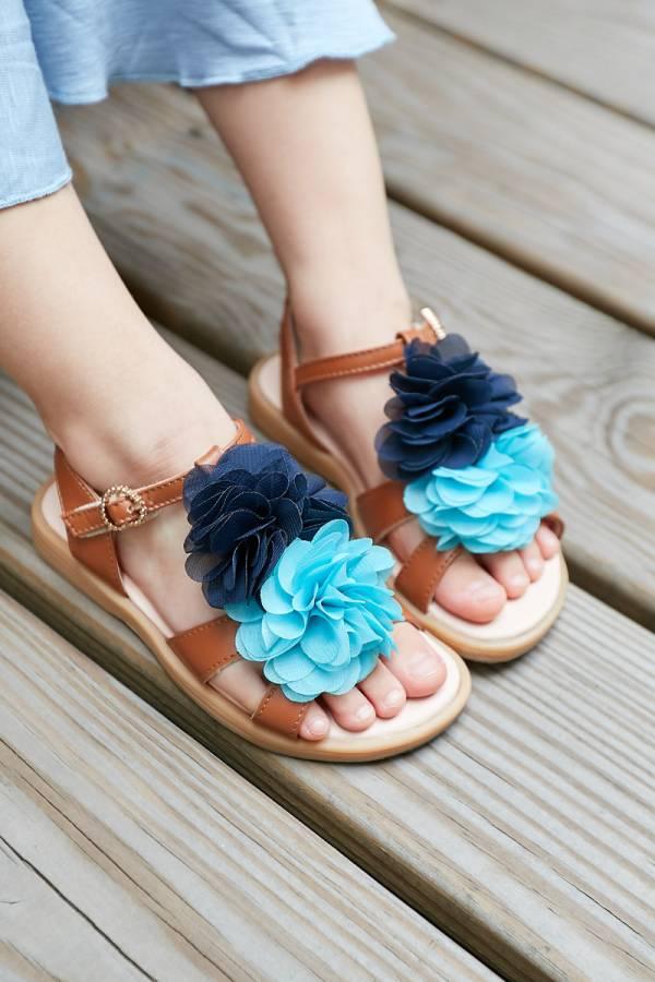 現貨 夏威夷花朵女童真皮涼鞋-咖啡 女童真皮涼鞋,台灣製童鞋,台灣製涼鞋,女童涼鞋,真皮涼鞋
