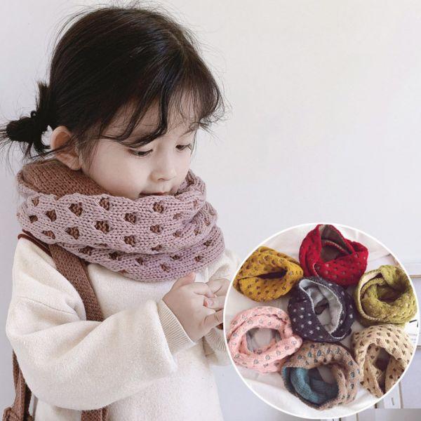 現貨 雙色針織套頭兒童圍脖-粉色 雙色針織套頭兒童圍脖,兒童圍巾,保暖圍巾