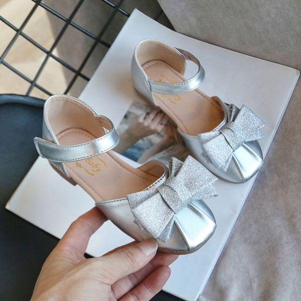 /大童/金蔥蝴蝶結包趾涼鞋-銀色