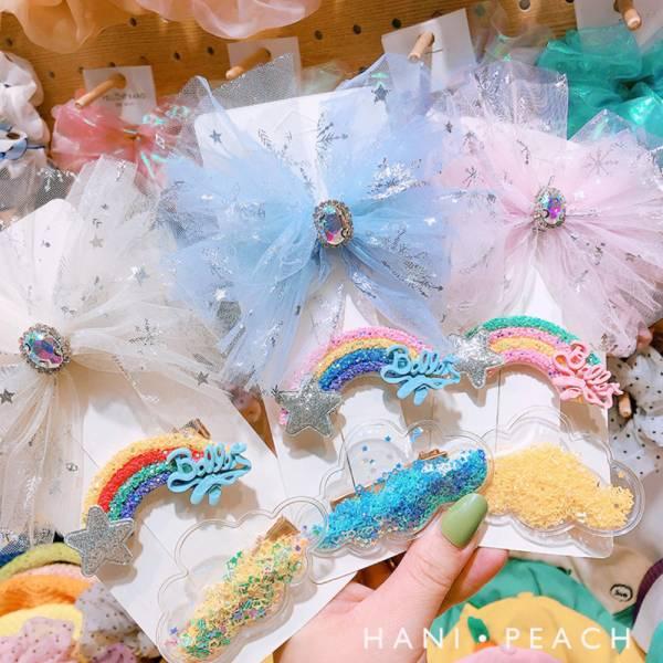 彩虹雲朵流沙髮夾三件組-共四色