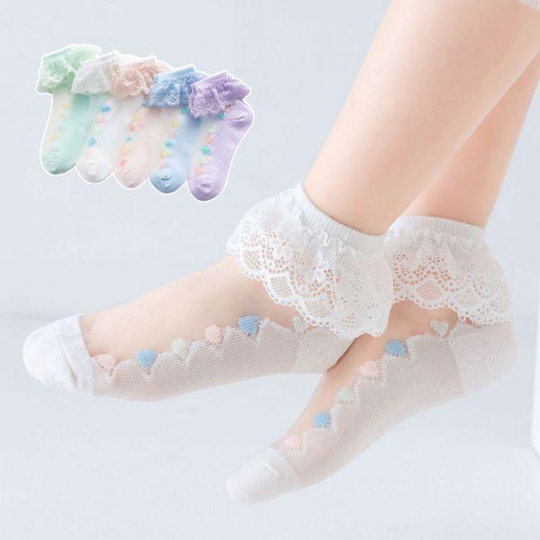 涼爽透氣 冰絲愛心圖案短襪-一組五雙