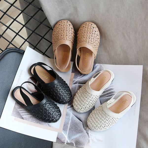 /大童/鬆緊帶編織包頭涼鞋 女童涼鞋-米白