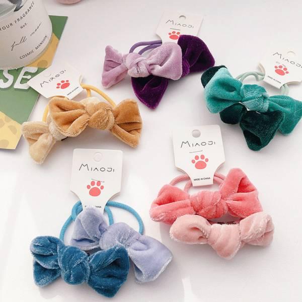 兒童專用 絲絨蝴蝶結髮圈組-共五色