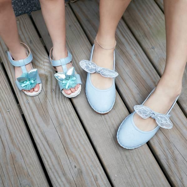 現貨 台灣製親子鞋 啾啾蝴蝶結娃娃鞋-淺藍大人 台灣製親子鞋,真皮娃娃鞋