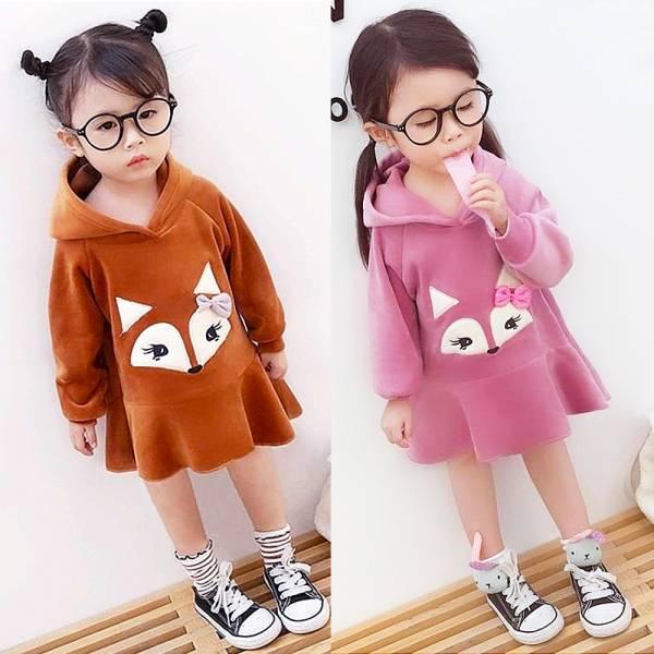 現貨 狐狸法蘭絨 連帽女童洋裝-紫色
