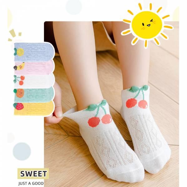 夏日薄款水果圖案低筒襪-一組五雙