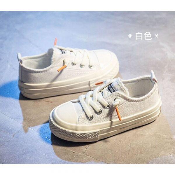 /大童/免綁鞋帶休閒帆布鞋-白色