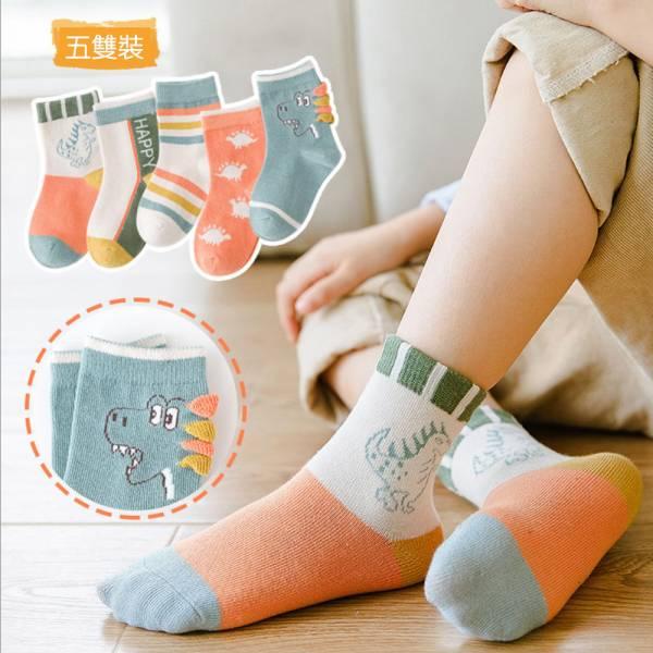 秋冬棉質透氣動物中筒襪-一組五雙 秋冬童襪,男童中筒襪,男童短襪