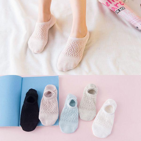 透氣網眼淺口襪 矽膠防滑女襪-一組五雙 透氣網眼淺口襪,矽膠防滑女襪