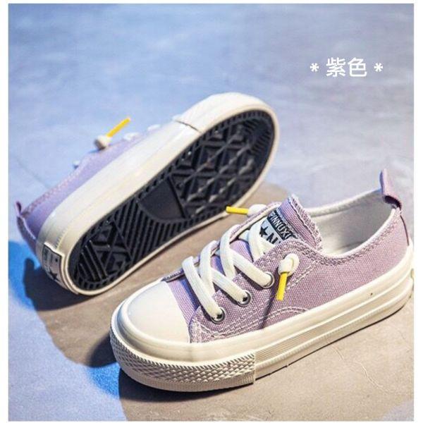 /大童/免綁鞋帶休閒帆布鞋-紫色