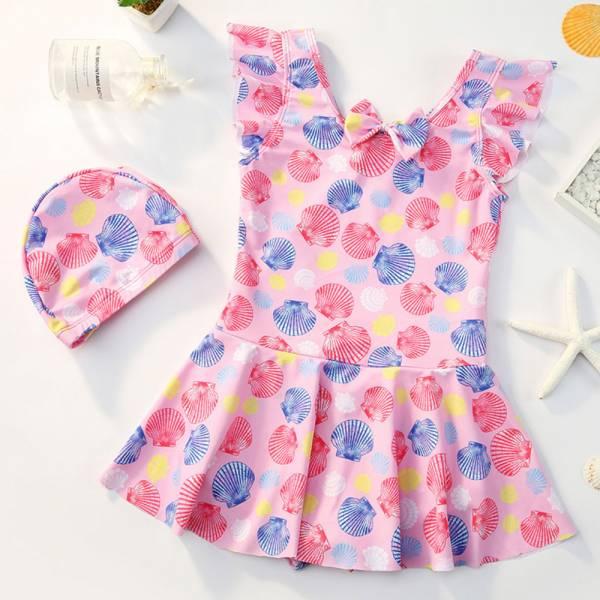 /大童/連身裙泳裝兩件套 含泳帽-共兩色