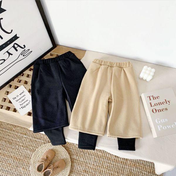 現貨 保暖加絨假兩件寬褲-共兩色 保暖加絨假兩件,保暖寬褲