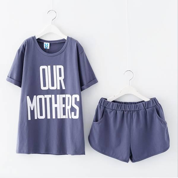 現貨 親子裝 英文字母棉T短褲套裝-藍色 現貨,親子套裝
