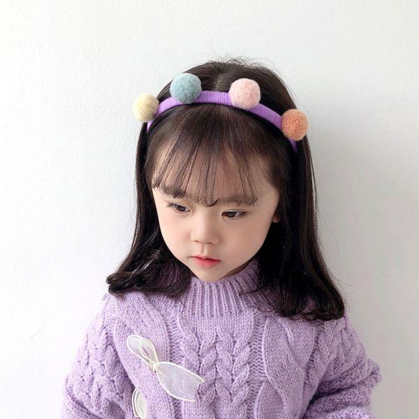 兒童專用 秋冬感毛球髮箍-共六色
