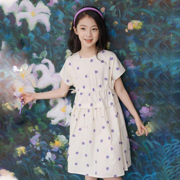 /大童/森林系 小圓點洋裝連身裙-共一色