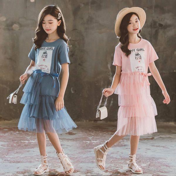 /大童/春夏款 春夏款 小女孩印花紗裙連身裙