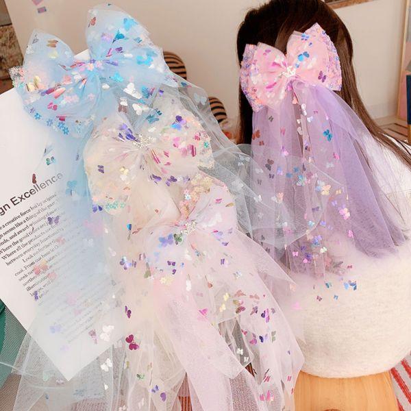 蝴蝶結網紗披肩髮夾-共三色