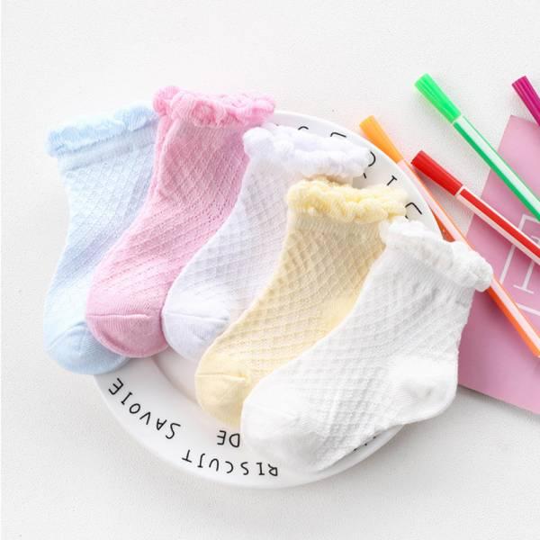 現貨 花邊網格 女童短襪-一組五雙