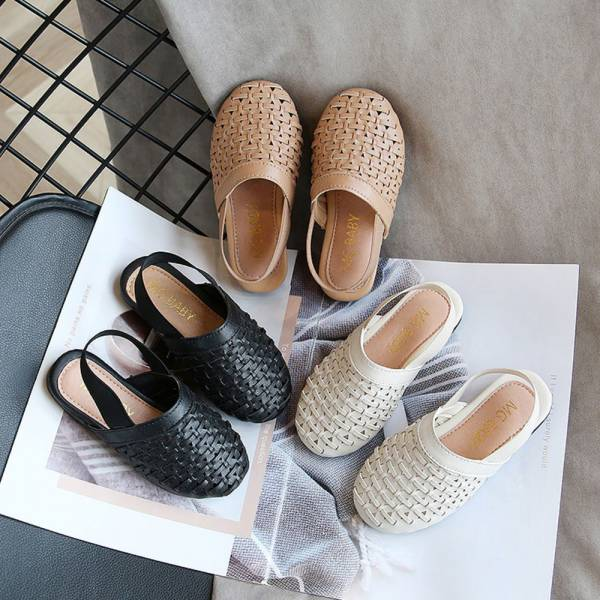 /大童/鬆緊帶編織包頭涼鞋 女童涼鞋-黑色