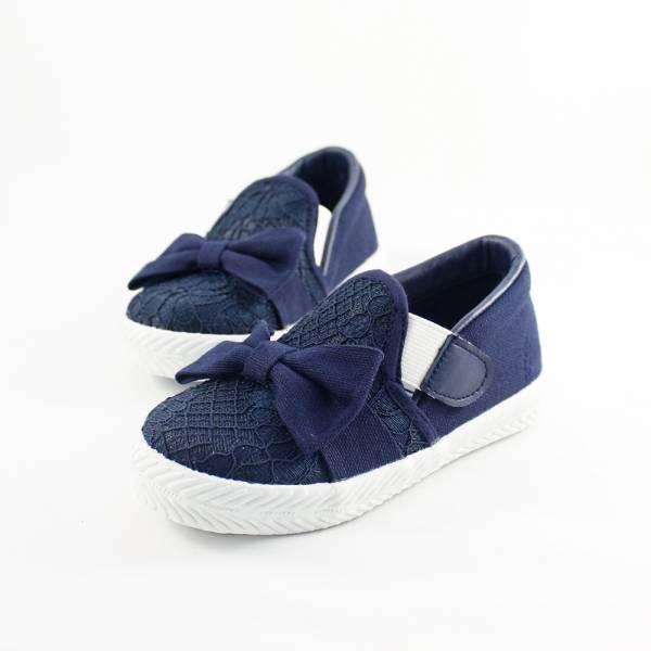 現貨 台灣製親子鞋 蕾絲魔鬼氈兒童休閒鞋-深藍色 台灣製親子鞋,兒童休閒鞋