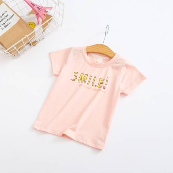 現貨 字母印花T恤 女童短袖上衣-粉色 現貨 字母印花T恤,女童短袖上衣