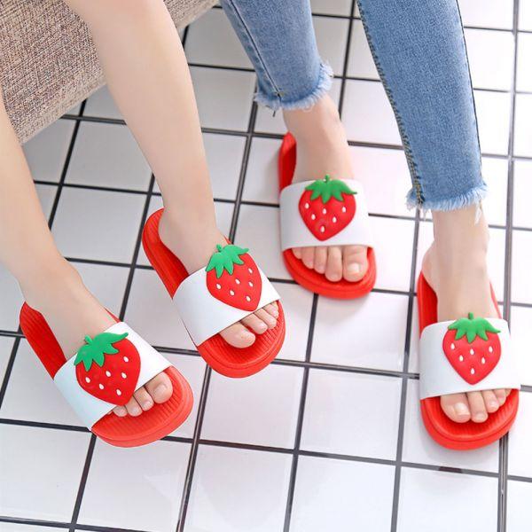 水果圖案 親子浴室防滑拖鞋-紅色 水果拖鞋,親子拖鞋,兒童浴室防滑拖鞋