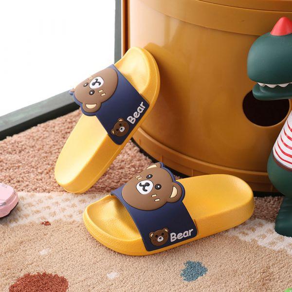 男孩女孩 可愛小熊防滑防水拖鞋-黃色