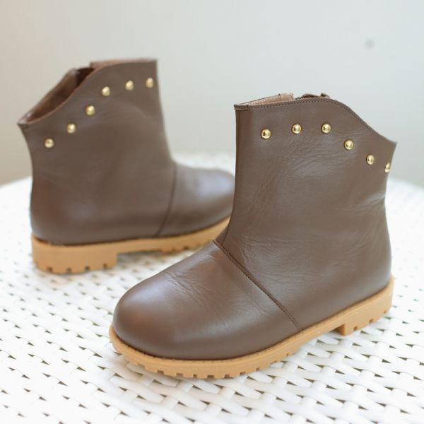 現貨 台灣製搖滾女童真皮短靴-咖啡色 台灣製,真皮短靴,Little Garden,時尚童鞋,女童靴子